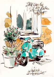 I'd been eyeing this scooter for some time and when the day finally came and I sat down to draw it, the owner turned up and bereft me of my motif. Fortunately, I had already laid down the sketch and was able to finish the picture. Munich, Germany, 2015 © Jan Philipp Schwarz