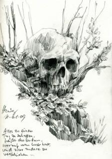inspired by Iain McCaig's incredible book 'Shadowline' I needed to draw a skull, Hamburg, Germany, 2009 © Jan Philipp Schwarz