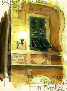 when I painted this it was so dark that I couldn't actually make out the difference of half the colours in my watercolour box - interesting experience, Cinque Terre, Italy, 2011 © Jan Philipp Schwarz