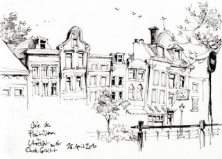 This was nice: While I drew these houses a local artist secretly drew me on a beer mat, Utrecht, Holland, 2010 © Jan Philipp Schwarz