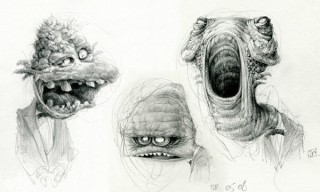"""I spent most of 2008 working on the animated feature 'Jasper' and because my flat was 45 minutes away from work I had a lot of time to kill on the train... """"Monsters with bow tie"""", Berlin, Germany, 2008 © Jan Philipp Schwarz"""