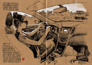 Driving home from a little work retreat in Italy, where my wife started writing her new book and I prepared a workshop for the national Urban Sketcher Symposium. Italy, 2016 © Jan Philipp Schwarz