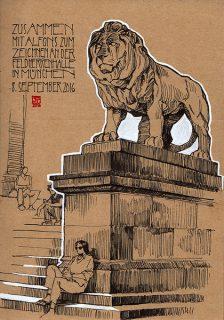 One of the imposing lions of Feldherrenhalle in Munich, Germany, 2016 © Jan Philipp Schwarz