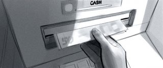 This is the other: withdrawing cash from an ATM. Internet banking app George of Erste Bank and Sparkasse, Client: Zauberberg 2021 © Jan Philipp Schwarz