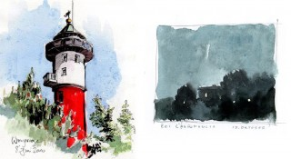 Lighthouse on Wangerooge in Germany, (2010) and a quick sketch done in the evening rain while the light was fading, Toscany, Italy, 2013 © Jan Philipp Schwarz