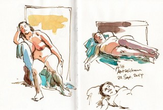 trying my luck with nib pen and colour, about 15 minutes each, Hamburg, 2014 © Jan Philipp Schwarz