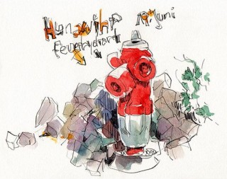 Alsace is full of these cute little fire hydrant guardians, Hunawihr, France, 2014 © Jan Philipp Schwarz