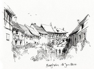 a row of houses just outside the old city wall of Bergheim, France, 2014 © Jan Philipp Schwarz