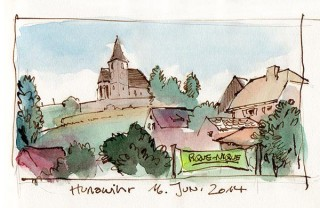 tispy drawing of Hunawihr's church just after Germany had successfully started into their World Cup campaign, France, 2014 © Jan Philipp Schwarz