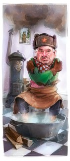 Caricature of Johannes Teyssen of E.ON claiming Germany need not worry about winter gas supplies during dispute with Russia, Client: Wirtschaftswoche, 2015 © Jan Philipp Schwarz