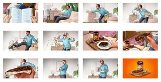 The entire animatic. Just before the packshot the woman eating the slice of Ovomaltine bread says 'C'mon, it's only a game'… Client: David & Martin (Munich), 2018 © Jan Philipp Schwarz
