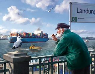 """""""Landungsbrücken"""" for HVV campaign, Client: Zum Goldenen Hirschen, 2013 © Jan Philipp Schwarz"""
